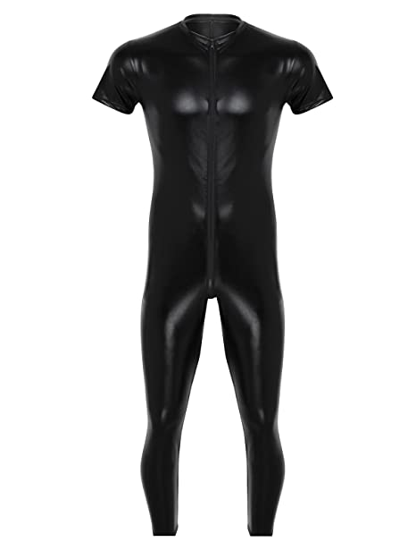 c3fa70f4285 Amazon.com  dPois Mens Soft Shiny Stretchy Faux Leather Short Sleeves  Zipper Crotch One Piece Full Body Leotard Bodysuit Catsuit  Clothing