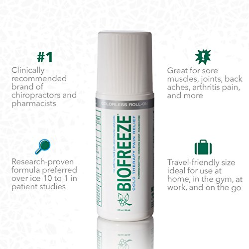 Biofreeze Pain Relief Gel for Arthritis, 3 oz. Roll-On Cold Topical Analgesic, Fast Acting & Long Lasting Cooling Pain Reliever for Muscle, Joint, & Back Pain, Colorless Formula, Pack of 2, 4% Menthol by Biofreeze (Image #2)