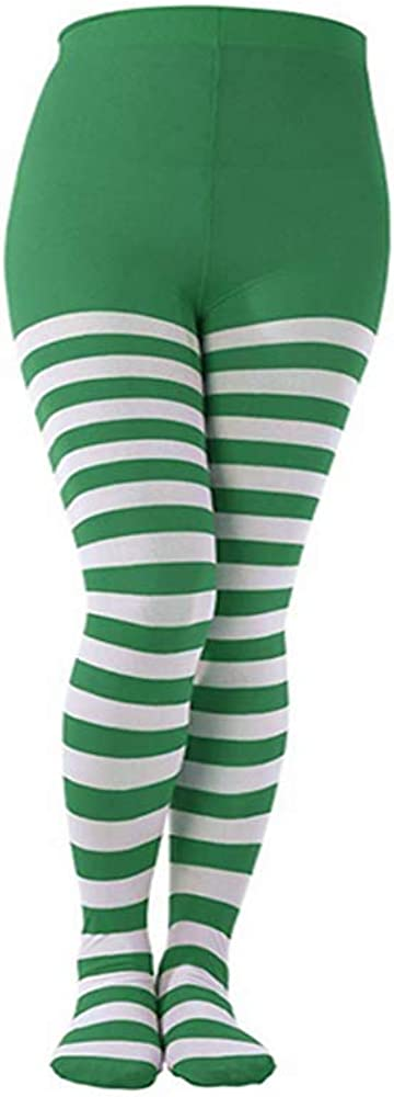 Hosfairy 1 Pair of Christmas Striped Tights and 1Pair of Long Satin Gloves for Christmas Halloween Costume Accessory