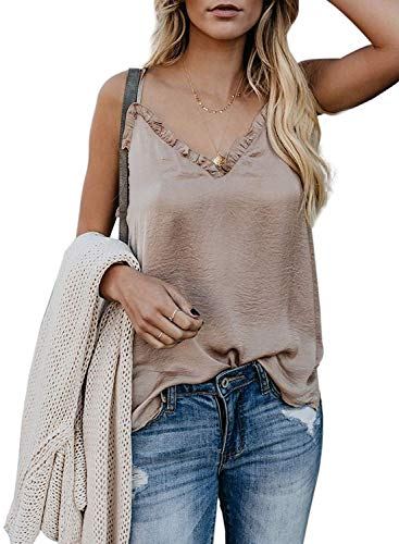 Tiksawon Women's Sexy v Neck Sleeveless Solid Silk Summer Casual Loose fit Flowy Tank top Apricot XL