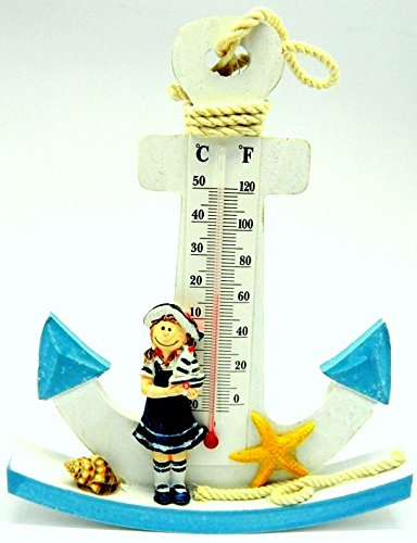 New Wooden Nautical Anchor Shaped With Little Girl Thermometer Design Ornament MY-3445