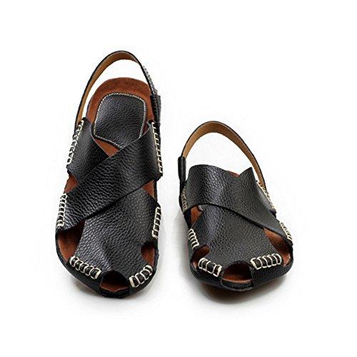 adatte e scarpe sandali Casual Toe per da tempo pelle chiusi al comode il trekking coperto sport da Open Men's per in spiaggia scarpe uomo pelle in libero scarpe Black assorbe da all'aperto Sandali sudore ZHxnO6EW5