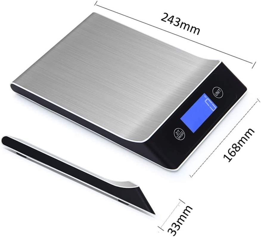 RJJX Home Digital Kitchen Scale di Misura Cucina Utensili in Acciaio Inox Scala Elettronica del Peso Display LCD Scala 5kg / 1g (Color : Black) Black