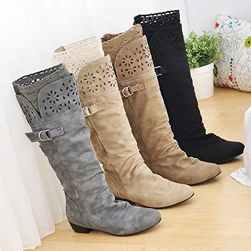 Openwork Winter Flower Knight Women High British FALAIDUO Flat Autumn Bottomed Retro Grey Boots Buckle Boots Lace Boots Casual Boots Single XwB5wTq