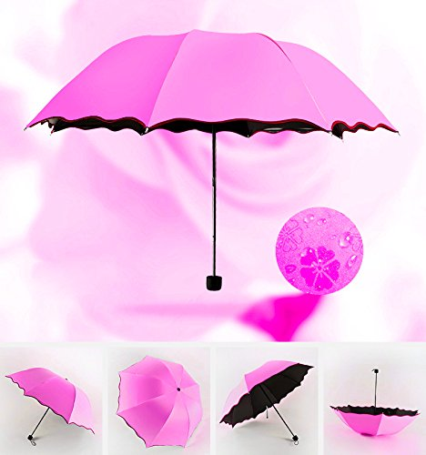 Red Bone Step - Enterest Sun and Rain Umbrella Water Floating Flower Color Umbrella Step the Ultimate Umbrella Bone Durability Nano-black Plastic Super Strong Sunscreen (Rose Red)