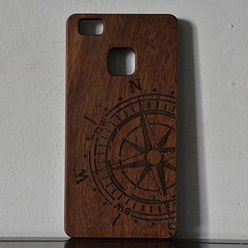 Sunroyal® para Huawei P9 Funda de Madera Natural Hecha a Mano de Bambú Madera Retro Ultra-delgada Retro Carcasa Wood Case Cover con Gratis Protector de Pantalla para tu Smartphone del Huawei P9 - Comp A-05