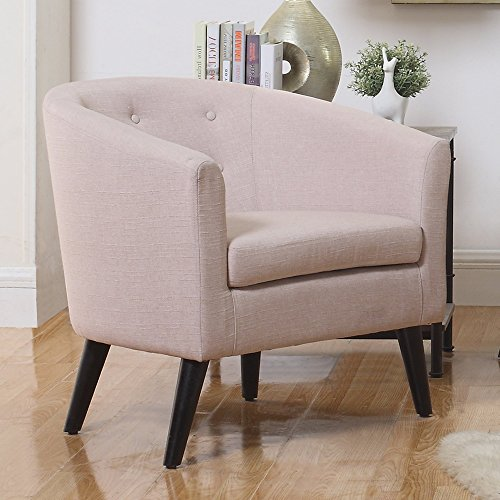 - Rosevera Alina Tufted Barrel Chair, Beige