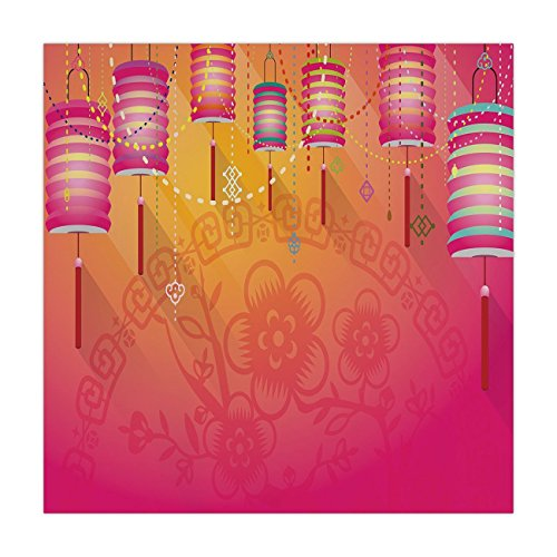 iPrint Satin Square Tablecloth,Lantern,Abstract Eastern New Year Festivities Handmade Asian Cultures China Floral Background Decorative,Fuchsia,Dining Room Kitchen Table Cloth Cover ()