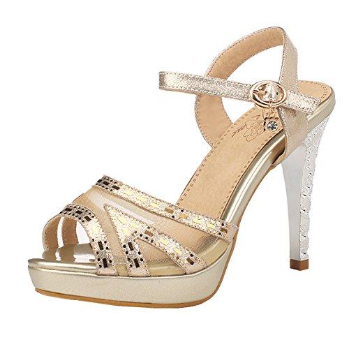UH Damen Peep Toe Plateau Ankle Strap Sandalen mit Stiletto und Schnallen Pailetten Elegant Sandalen