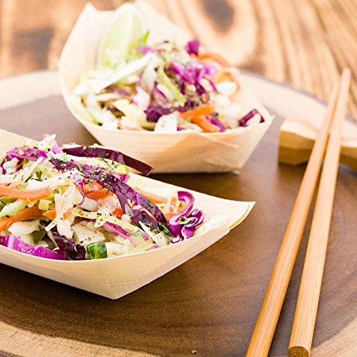 Medium Disposable Wood Serving Boats – Natural Pinewood Take Out Trays: Perfect for Restaurants, Caterers and Food Trucks – 6.0'' x 3.25'' – Biodegradable and Compostable – 200-CT – Restaurantware by Restaurantware (Image #2)