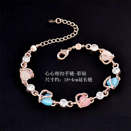 Heart-Shaped Rose Gold Bracelet Bangle Unique Multi-Layer Fashion Jewelry Hand Bracelets Purple Crystal Opal (Heart Interlocking Bracelet - -