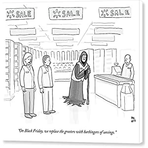 """Walmart Black Friday"" by Paul Noth, New Yorker, November 27, 2013, Canvas Print"