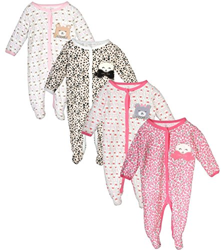 Duck Duck Goose Baby Boys & Girls 4 Pack Cotton Footed Sleep and Play, Bear/Kitty, 0-3 (Cotton Kitty Collar)