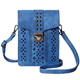 MINICAT Women Hollow Texture Small Crossbody Bags Cell Phone Purse Wallet With Credit Card Holder(Blue-Thicker)
