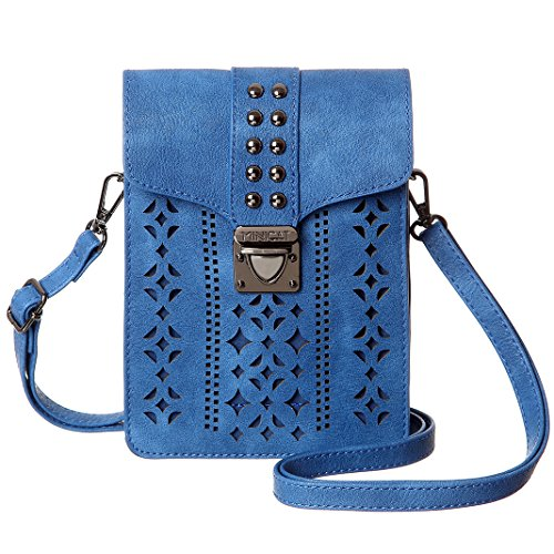 MINICAT Women Hollow Texture Small Crossbody Bags Cell Phone Purse Wallet With Credit Card Holder(Blue-Thicker) by MINICAT