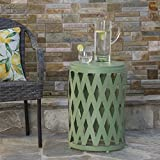 Ellen Outdoor Iron Side Table (12 Inch or 14 Inch Diameter) (14 Inch Diameter, Matte Green)
