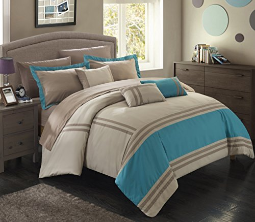 Chic Home Zarah 10 Piece Comforter Set Complete Bed in a Bag Pieced Color Block Banding Bedding with Sheet Set And Decorative Pillows Shams Included, Queen Teal Beige by Chic Home