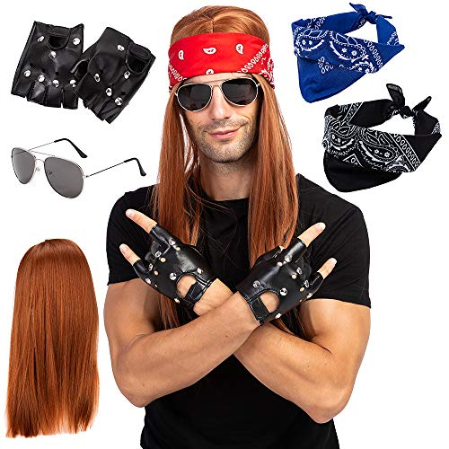 Spooktacular Creations Rockstar 90s Heavy Metal Rocker Costume with Wig, Gloves, Sunglasses and Bandanas Halloween Costumes for ()