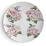 iPrint 7'' Ceramic Plates Kitchen Decor Ceramic Decorative Plates Vintage Country Style Floral Decor Roses Wreath Bouquet Wildflowers Design