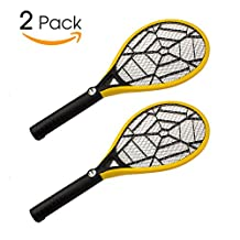 Bug Zapper-Electric Fly Swatter, Rechargeable Mosquito, Fly Killer, 2 Pack-Bug Zapper Racket 2300 Volts Super Bright LED Light to Zap in the Dark, Built- in US Plug & 3-Layer Mesh Safe to Touch-Yellow