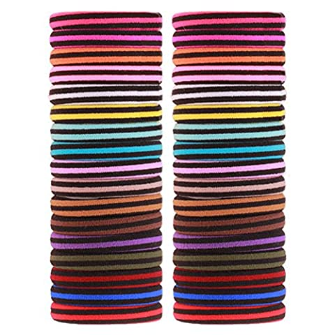 Elastic Hair Ties Ponytail Holders J-MM 55 Count Bulk Double Color Hair Accessories Rubber Bands (Black and Colour)