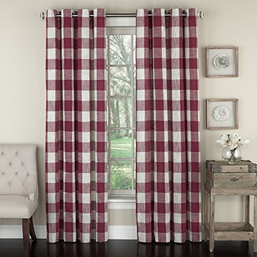 (Lorraine Home Fashions 09570-63-00148 RED Courtyard Grommet Window Curtain Panel, Red, 53