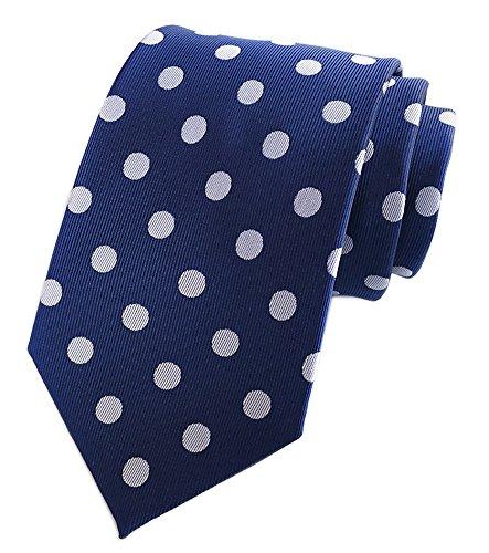 Secdtie Men's Blue White Dot 100% Silk Self Cravat Tie Jacquard Woven Gift Y007 Dot Narrow Tie