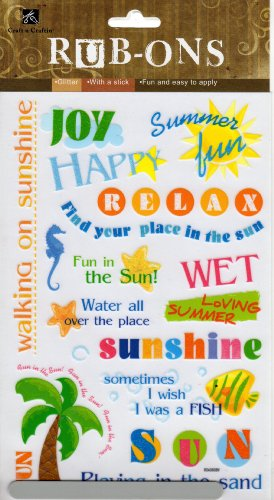 Summer Fun Glitter Rub-ons for Scrapbooking (ROS019)