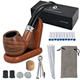 Joyoldelf Tobacco Pipe Set - Smoking Pipe with Wooden Stand, 3-in-1 Pipe Scraper, 10 Pipe Cleaners & Pipe Filters, 2 Pipe Bits & Metal Balls, Cork Knocker, Bonus a Pipe Pouch