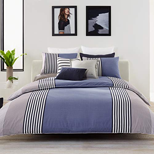 Lacoste Meribel Blue and Grey Colorblock Striped Brushed Twill Comforter Set, Twin/Twin Extra Long