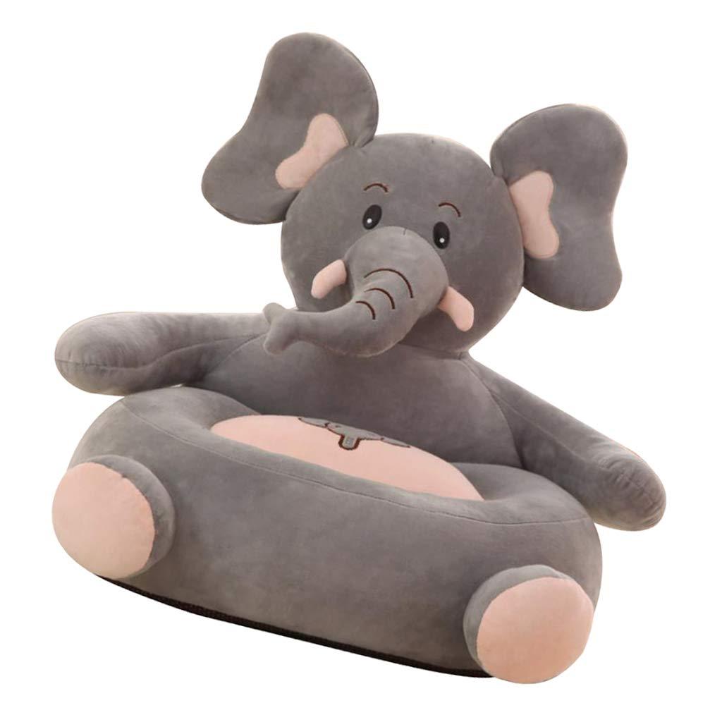 Fenteer Kids Plush Sofa Seat Cover Lovely Animal Shape Armchair Cover Kids Toddler Bean Bag Chair Elephant
