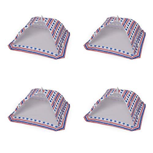 Food Tent - Set of 4 Patriotic Stripes & Stars Folding Umbrella Food Covers 12