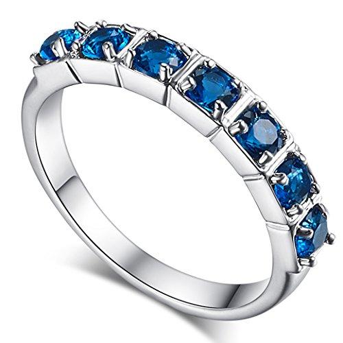 (Narica Women's Fashion Simple 3mm Round Cut Sapphire Quartz CZ Engagement Ring Band)