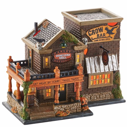 Department 56 Snow Village Halloween Harley Crow Bar Light House, 6.62 inch -
