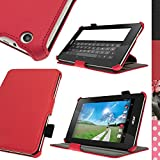 iGadgitz Premium Executive Red PU Leather Case Cover for Acer Iconia One 7 B1-730HD with Multi-Angle Viewing Stand + Hand Strap + Stylus Pen Elastic Holder + Screen Protector