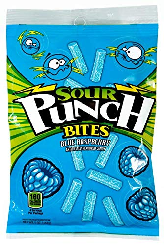 Sour Punch Bites, Sweet & Sour Blue Raspberry Flavor, Chewy Candy, 5oz Bag (12 Pack) -