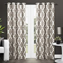 Exclusive Home Curtains Ironwork Sateen Woven Blackout Thermal Grommet Top Window Curtain Panel Pair, Taupe, 52x84