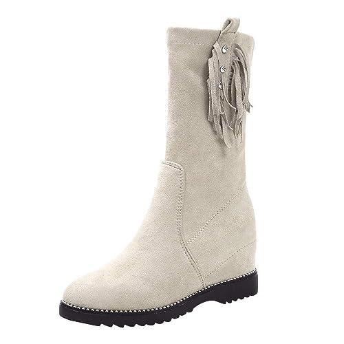 ALIKEEY Mujer Cuñas Borlas Botines Medio Tubo Botines Zapatos Slip-On Boot Skechers Terciopelo Blancas Victoria Crema Mocasines Negros Rojos Ante: ...