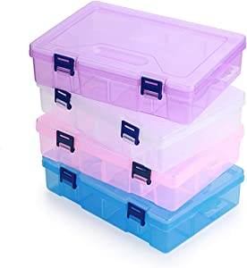 BTSKY Large Capacity Pencil Box, Adjustable Double Deck Office Supplies Storage Organizer Case, Assorted Color Brush Painting Pencils Storage Box Watercolor Pen Container Drawing Tool 4 Pack