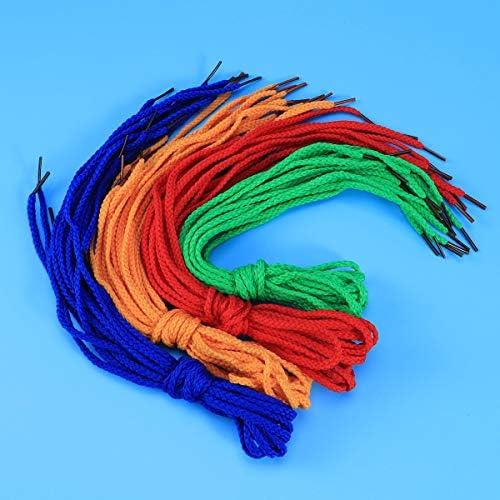 rouge + jaune + bleu + vert Toyvian 60pcs enfants lacets de filetage color/é lacets de perles de cr/éation pour projets de filetage