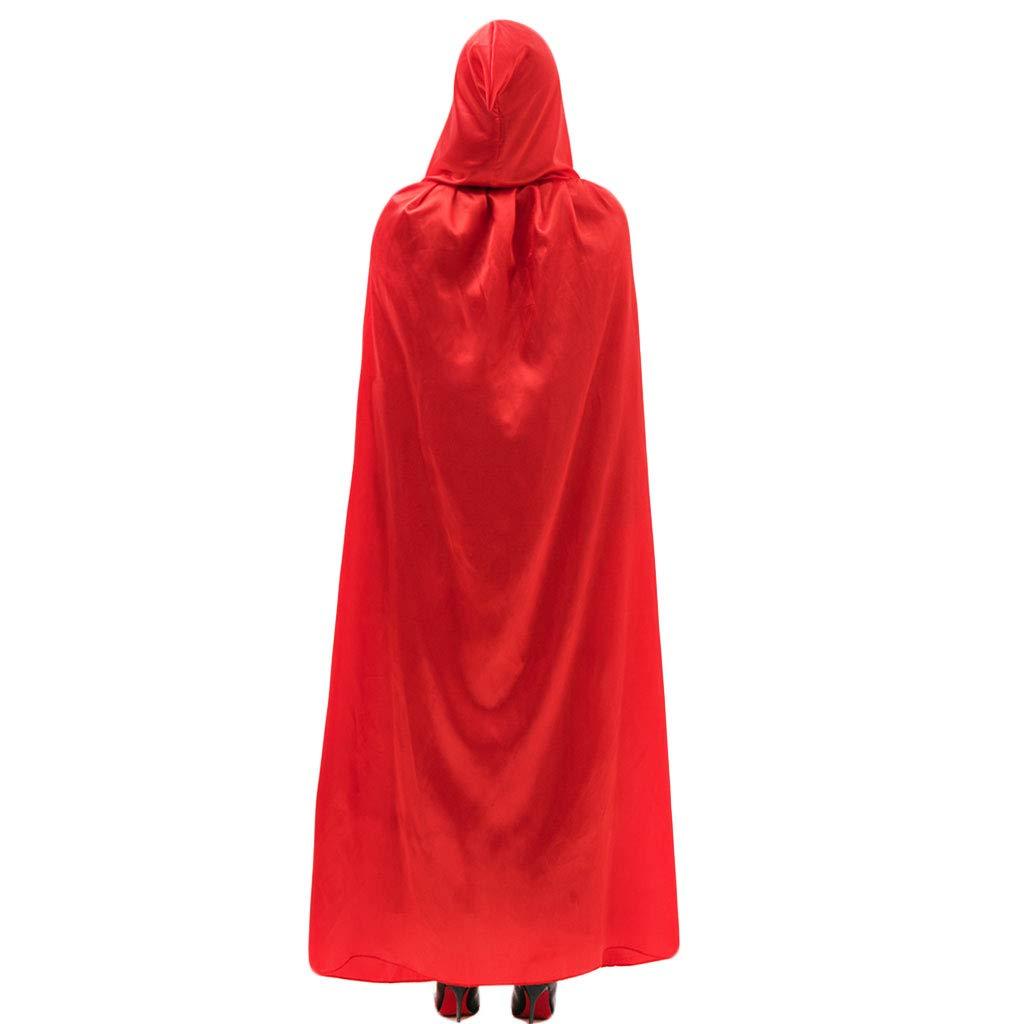 Kofun Halloween Cloak Adult Long Satin Velvet Christmas Party Hooded Fancy Cape Vampire Role Red