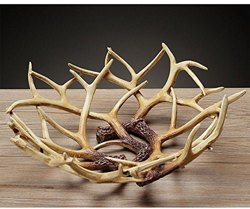 Art Reindeer Deer Antlers Organic Fruit Basket Bowl Artificial Decorative Gift Tray White Rack Drying Decor Fresh Large Storage Stand Plate Holder Shelf Vintage Round Display Container (Deer Classic) (Harvest Round Serving Plate)