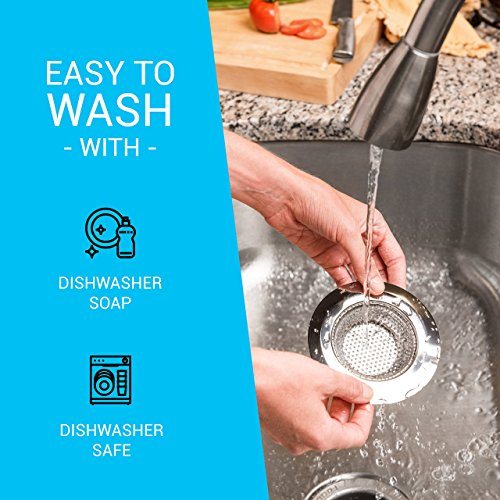 """- Kitchen Sink Strainer (2-pack) - 4.5"""" Diameter, Wide Rim Perfect for Most Sink Drains, Anti-Clogging Micro-Perforation 2mm Holes, Rust Free, Dishwasher Safe"""