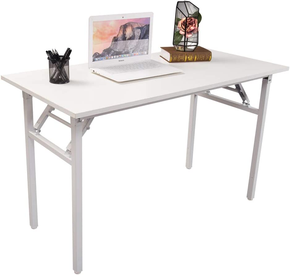 Halter Folding Computer Desk Writing & Study Table for Home and Office Desk  Use White 49 inches