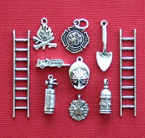 20pcslot Fire Department Charms Antiqued silver Tone Fireman charm pendants 20x15mm