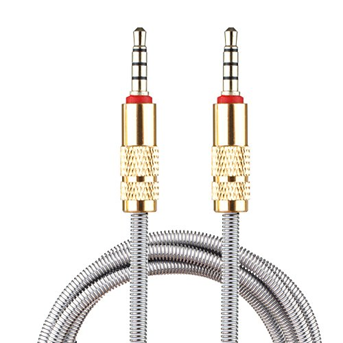 Lilware Metal Braided Audio 3. 5mm Cable with Metal Plated Jack - 3.5 mm to 3.5 mm 2.6ft (80cm) Audio AUX Cord - Silver