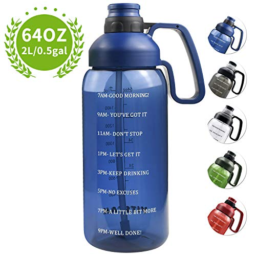 Half Gallon Water Bottle with Straw, 2l Water Bottle Motivational Water Bottle 64 Oz Water Bottle with Time Marker, Wide Mouth Water Jug for Sports Water Bottle BPA Free Leakproof, Blue Water Bottles