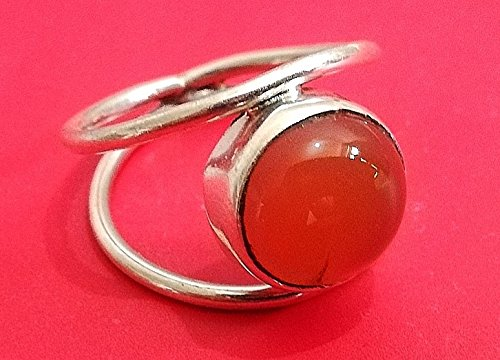 Carnelian Ring, 925 Sterling Silver, Semi Precious Gemstone, Earthy Stone Ring, Purpose Ring, Meditation Ring, Divination Ring, Goddess Crystals, Traditional Birthstone Ring, Gift, US All Size ()