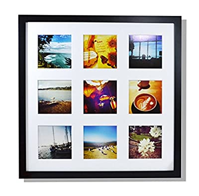 Golden State Art 16x16 Frame with Mat - Displays Nine 4x4 Photos - Square Collage Frame - Real Glass, Sawtooth Hanger, Swivel Tabs - Wall Mounting, Landscape, Portrait