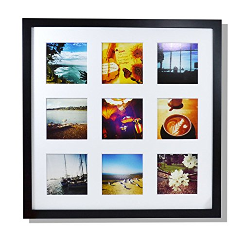 Golden State Art Smartphone Instagram Frame Collection, 16x16-inch Square Photo Wood Frames for 9 4x4-inch Pictures with Real Glass, Black (Wall Square Collection)